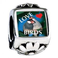 Love Birds Blue Photo Flower Charms  Fit pandora,trollbeads,chamilia,biagi,soufeel and any customized bracelet/necklaces. #Jewelry #Fashion #Silver# handcraft #DIY #Accessory