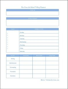 Organize: customizable blog planner form from The Peaceful Mom