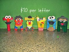 Sesame Street Character Letter Art by GunnersNook on Etsy Diy Letters, Painted Letters, Wooden Letters, Sesame Street Party, Sesame Street Birthday, Elmo Birthday, 1st Birthday Parties, Sesame Street Letters, Sesame Streets
