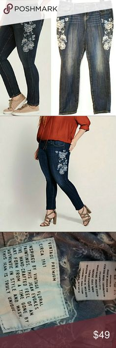 dc38ec148a3 14 Torrid Premium Vintage Skinny Jean w Embroidery From the Vintage Premium  jeans collection