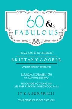 60th birthday invite wording samples surprise 60th birthday party teal and fabulous 60th birthday invitation filmwisefo