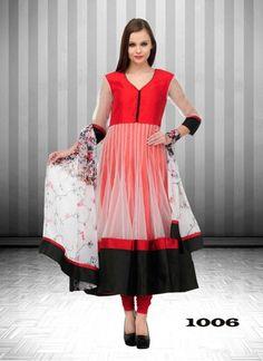 89edeb282c Kreckon Buy Red Net Designer Anarkali Suit Cotton Anarkali