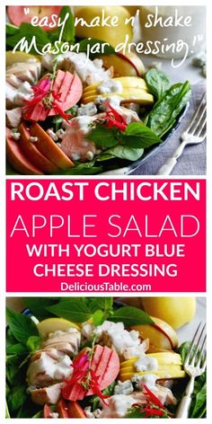 """Easy Roast Chicken Apple Salad with Yogurt Blue Cheese Dressing that you """"Make and shake"""" in a Mason jar, plus learn how to oven roast chicken breasts! Best Lunch Recipes, Fun Easy Recipes, Healthy Salad Recipes, Dinner Recipes, Favorite Recipes, Roast Recipes, Veggie Recipes, Summer Recipes, Dinner Ideas"""