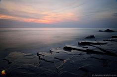 Sun Has Set over Lake Erie: From a short photo sequence that I wrote about in my Two Faces of One Lake post. Well, you could consider this Face # 3 :-) #etbtsy #lakeerie #rockyshore #sunset