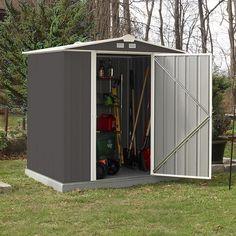 B x 5 ft. D Metall-Lagerschuppen - Outdoor decor - Anbau Metal Storage Sheds, Metal Shed, Outdoor Storage Sheds, Outdoor Sheds, Shed Design, Door Design, Building A Shed, Building Design, Building Plans