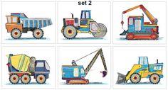 Boy Nursery Construction Trucks by sweetpeasartstudio2 on Etsy