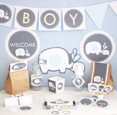 Elefante bebé ducha decoraciones imprimible por stockberrystudio