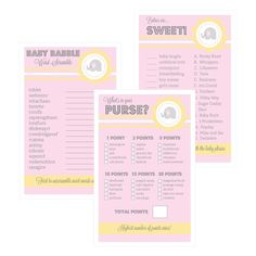 Baby Shower Games (Set of 10) - Pink Elephant