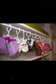 Genius! How to store kids shoes in their closet and/or in a small space.