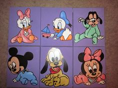 A set of 6 disney babies handpainted on canvas nursery  childrens wall decor hanging. $50.00, via Etsy.
