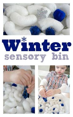 Easy Winter Sensory Bin for snow story times. I could put together small ones for kids to play with at story time. Easy Winter Sensory Bin for snow story times. Winter Activities For Toddlers, Snow Activities, Winter Crafts For Kids, Winter Kids, Sensory Activities, Toddler Activities, Preschool Winter, Winter Crafts For Preschoolers, Winter Preschool Crafts