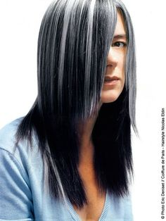 Straight grayed hair...I could rock this in a dark brown combo.