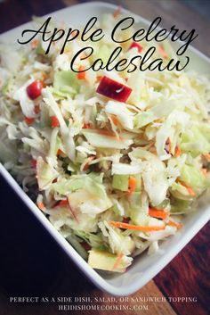 Apple Celery Coleslaw is a lighter, sweeter twist on the classic American coleslaw. This can act as a salad, but it works great on burgers and pulled pork sandwiches as well. Salads To Go, Summer Salads, Summer Dishes, Vinegar Based Coleslaw Recipe, Coleslaw For Pulled Pork, Apple Coleslaw, Apple Celery Salad, Cooking Recipes, Healthy Recipes