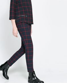 ZARA - WOMAN - CHECKED TROUSERS WITH ZIPS