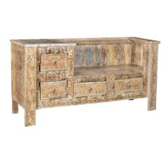 45903 Bench Sideboard - Mohr & McPherson Bench? Sideboard? Both? Teak and shesham wood, rustic painted finish with drawers.