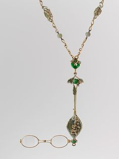 Lorgnette and Chain By Rene Jules Lalique - Gold, Enamel, Diamonds, Jade And Glass   c. 1900