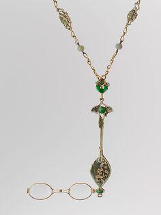 Lorgnette and chain. René Jules Lalique (French,1860–1945 Paris). ca. 1900. Gold, enamel, diamonds, jade, glass.
