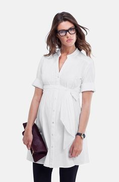 Isabella Oliver 'Libby' Pleated Maternity Tunic available at #Nordstrom