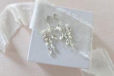 Rose gold Bridal earrings Freshwater Pearl Vine Earrings | Etsy