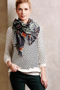 Summary Pullover - anthropologie.com....love this scarf and sweater combo!