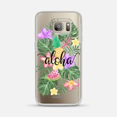 Tropical watercolor floral leaves aloha protective samsung galaxy s7