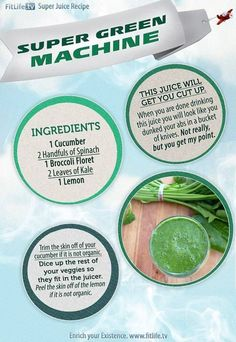 The Super Green Machine  This is definitely a must-try! #cucumber #spinach #broccoli #kale #lemon