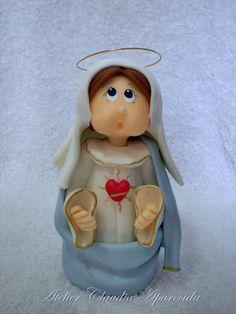 Sagrado Coração de Maria modelada em biscuit com características infantis. Elo7 - Atelier Claudia Aparecida