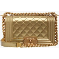 Chanel Gold Patent Leather GHW Small Boy Bag (74,885 MXN) ❤ liked on Polyvore featuring bags, handbags, chanel purses, brown bag, brown patent leather handbag, brown purse and gold bag