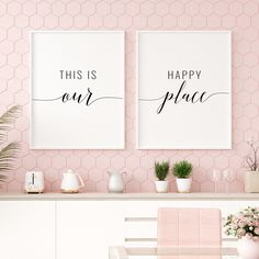 This Is Our Happy Place Printable Art, Set of 2 Prints, Living Room Quote Prints, Living Room Printable Wall Art Triptych *INSTANT DOWNLOAD*