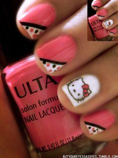 Hello Kitty Pink Polka Dot Nails