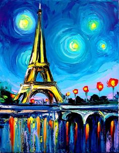 Image result for eiffel tower acrylic painting for beginners