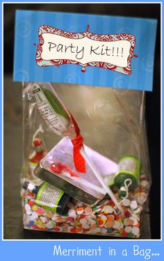 Love the title Merriment In A Bag.  Cute idea as a marketing piece.  I repinned this from http://gilliangreding.typepad.com/my_weblog/new-year-craft/