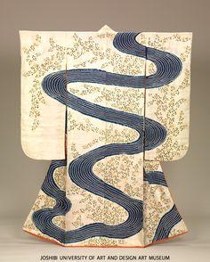 Furisode with flowing water and bush clovers, Edo Period, 19th c. Tie-dyeing (kanoko shibori), stenciled paste-resist dyeing (kata-yuzen) and embroidery on white figured silk satin (riuzu) ground