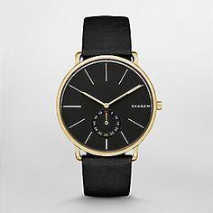 Skagen Men's Hagen Black Leather Two-Hand Watch Skagen Watches, Men's Watches, Watches Online, Luxury Watches For Men, Cool Watches, Fancy Watches, Stylish Watches, Casual Watches, Schmuck