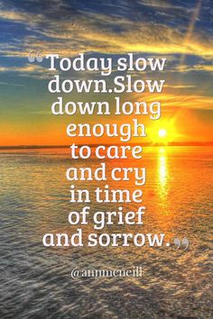 Today slow down. Slow down long enough to care and cry in time of grief and sorrow.Today slow down. Slow down long enough to care and cry in time of grief and sorrow. Follow me at: https://twitter.com/Annmcneill https://www.instagram.com/annmcneill/ https://www.linkedin.com/in/annmcneillmasterbuilder www.annmcneill.com/clarity/