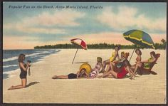 Anna Maria Island, Florida Vintage Postcard - Bathing Girls Fun on the Beach Vintage Florida, Old Florida, Florida Travel, Vintage Travel Posters, Vintage Postcards, Vintage Ads, Miami Beach Girls, Anna Maria Florida, Anna Maria Island