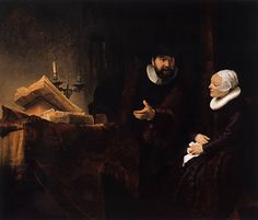 """Rembrandt, """"The Mennonite Minister Cornelis Claesz. Anslo in Conversation with his Wife, Aaltje"""" 1641, Oil on canvas, 176 cm x 210 cm, Staatliche Museen, Berlin"""