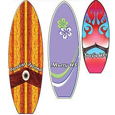 The Personalized Surfborad Standees feature three distinctly designed surfboards. Best of all, the surfboard standees can be personalized with your own special message.