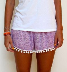 Pom Pom Shorts Purple Jungle Patterned Chiffon with by ljcdesignss Pom Pom Trim, Pom Poms, Cute Summer Outfits, Cool Outfits, Pom Pom Shorts, Jungle Pattern, Clean Shoes, Weekend Projects, Summer Clothing