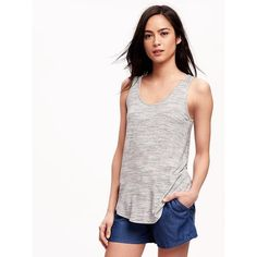 Old Navy Relaxed Curved Hem Space Dye Tank For Women ($10) ❤ liked on Polyvore featuring tops, grey, petite, grey tank, gray tank top, scoop neck tank top, stretch tank top and old navy tank tops