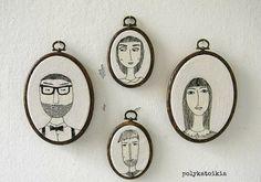 Benutzerdefinierte Familienbild, Satz von 4 (vier), personalisierte Porträt, ovale benutzerdefinierte Familienbild, Hand Embroidery benutzerdefiniertes Porträt, bestickt Wandkunst