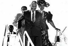 Nelson Mandela, South African freedom fighter and president of the African National Congress, and wife Winnie on their arrival at the Norman Manley International Airport, Jamaica. Winnie Mandela, African National Congress, West Indian, Freedom Fighters, Nelson Mandela, International Airport, Norman, Presidents