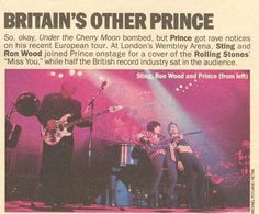 Press article about Wembley Parade gig by Prince with Sting and Ronnie Wood Ron Woods, Wembley Arena, Ronnie Wood, European Tour, Rolling Stones, Revolution, Prince, Purple, Reading