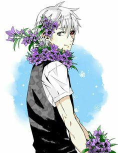 Kaneki Ken, ghoul, white hair, flowers, smiling; Tokyo Ghoul