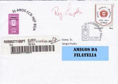 Sobrescrito circulado com carimbo comemorativo dos 35 anos do Centor Cultural e Desportivo do Hospital de Beja. Selo personalizado de taxa N colocado em circulação no dia 18/11/2013.