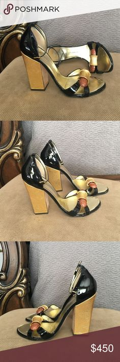 """Giuseppe Zanotti Design Sandals Black and Gold patent leather sandals from Giuseppe Zanotti Design featuring an ankle strap with a side buckle fastening, a branded insole, and chunky high heel. Made in Italy. They are in good condition, I did not use them much at all. Heel: 5"""" Giuseppe Zanotti Shoes Sandals"""