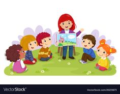 Illustration about Vector illustration of teacher telling a story to nursery children in the garden. Illustration of kids, friend, cartoon - 108205532 Moral Stories For Kids, School Murals, Circle Time, Banner Printing, Telling Stories, Art For Kids, Kindergarten, Creations, Clip Art