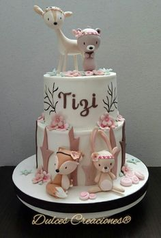 Forest Animal Baby Shower Cake, # baby shower # the # forest animal cake – Torten Ideen – # baby # forest Pretty Cakes, Cute Cakes, Beautiful Cakes, Amazing Cakes, Fondant Cakes, Cupcake Cakes, Kid Cupcakes, Gateau Baby Shower, Woodland Cake