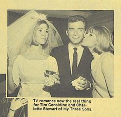 Original Mickey Mouse Club member and original cast member of My Three Sons, Tim Considine at his wedding actress to Charlotte Stewart in 1965 - that's Tim's TV wife Sally Ann played by Meridith MacRae giving him a kiss.