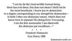 Friedrich NIetzsche - Ecce Homo quote on Dionysian nature - A.R.